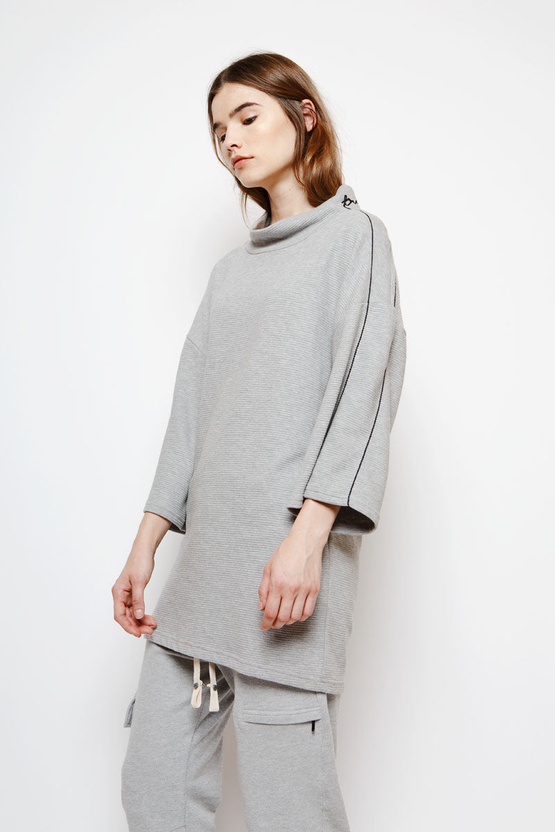 Muzca Essential Oversized Sweatshirt In Grey Modest Long and Loose Fitting Pullover with Ribbed Texture and Black Embroidery on Sleeves in 100% Cotton