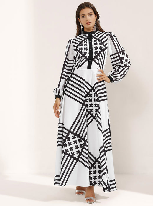 STORE WF Cross Striped White Maxi Dress with Black Buttons Modest Long Dress With Black Stripes, Front Buttons, Long Sleeves and High Collar