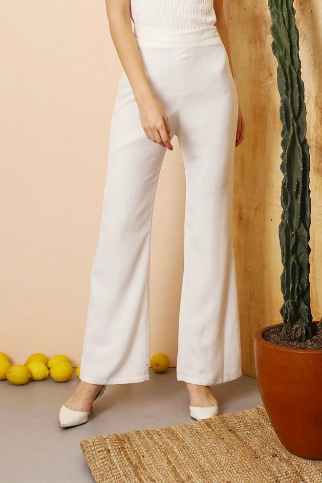 Le Bijou Modest Davis Bell-Bottom Trouser in White High Waisted Women Pants with Slit and Flared Leg