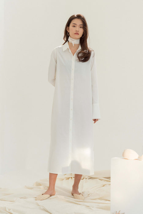 Fine Long Shirt Dress - Ivory