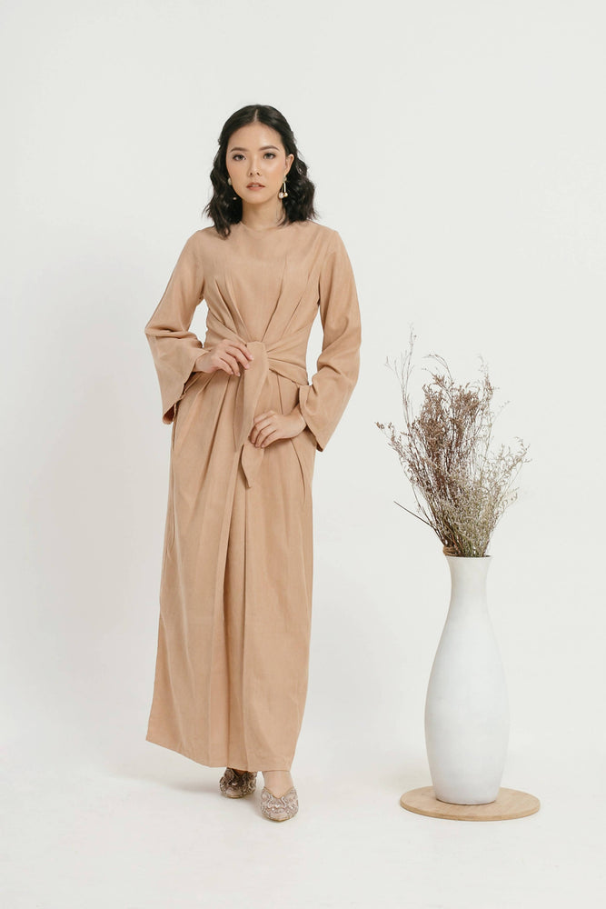 Faye Tied Dress - Brown