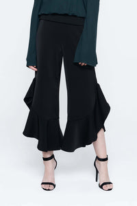 Domani Modest Black Pants with Uneven Hem with Frills in 100% Polyester