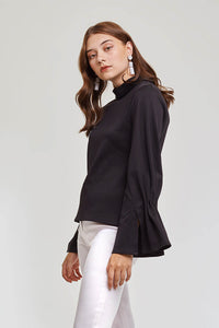 Domani Modest Long Sleeves with Frilled Cuffs in Loose Fit Black in 100% Polyester