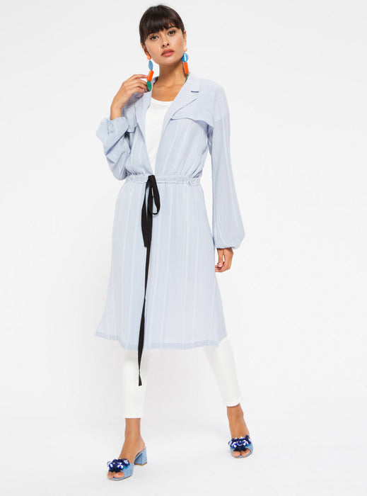 STORE WF Double Breasted Tie Front Kimono Modest Long Open Front Kimono with Front Tie in Light Blue