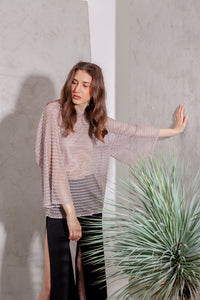 Domani Dune Taupe Top Modest Loose Fitting Net Mesh Women's Top with Inner Lining