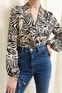 UNIQUE21 Zebra Print Wrap Bodysuit Modest Loose Long-Sleeved Women's Top With Ribbon Cuffs, Lapel Collar