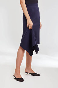Domani Modest Midi Knee Length Skirt in Navy with Asymmetric Hemline in Scuba Fabric