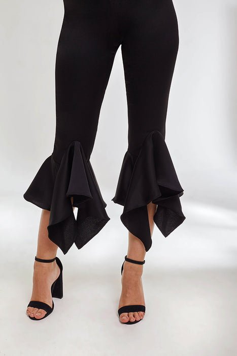 Domani Modest Black Fitted Pants with Frills and Asymmetrical Hem in Satin Crepe