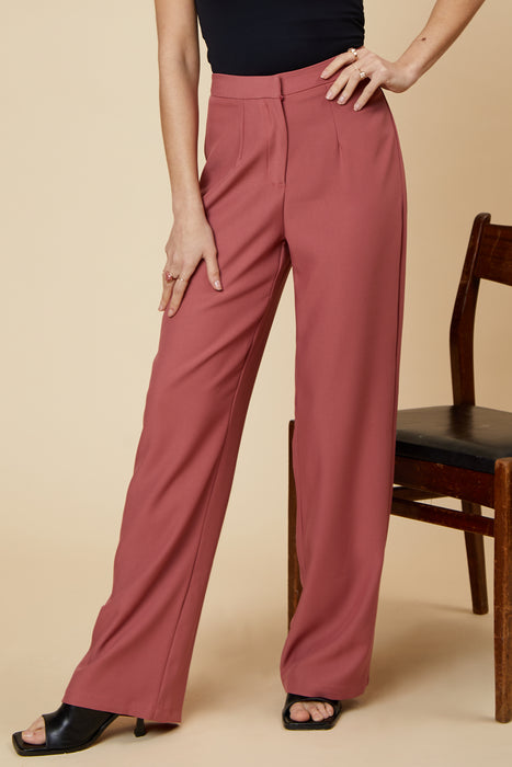 UNIQUE21 Blusher Wide Leg Tailored Trouser Modest Ankle-Length High-Waist Loose Pants For Women With Hidden Front Zipper