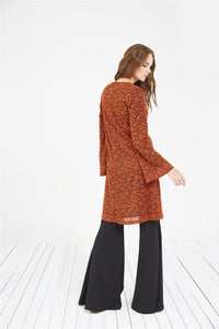 STORE WF Funnel Sleeve Lace Tunic Modest Loose Long Sleeve Lace Top in Orange