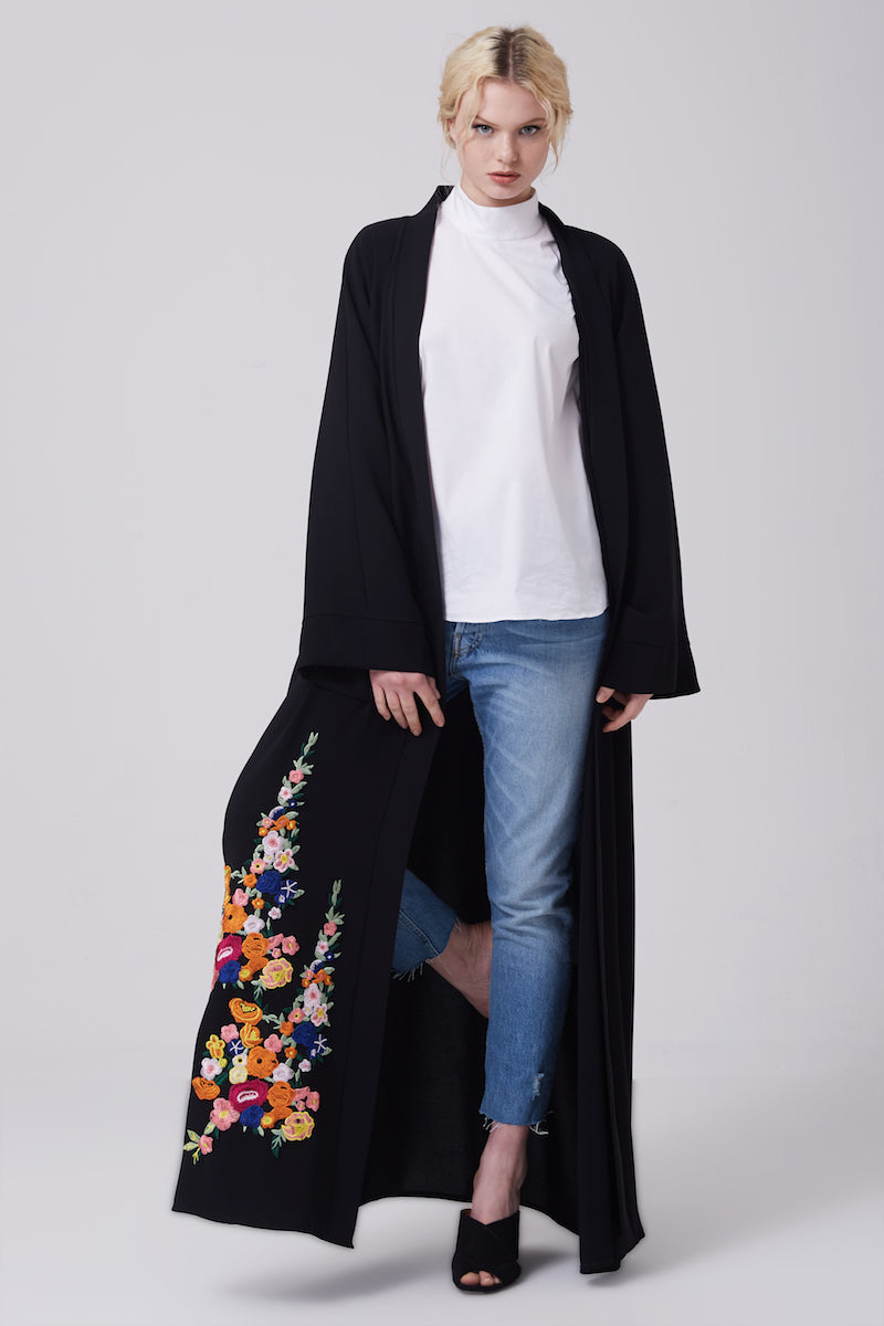 FERADJE black modest abaya with embroidery colourful patches at the bottom made from crepe front view