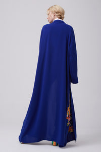 FERADJE royal blue Modest Abaya with embroidery colourful patches at the bottom made from crepe back view