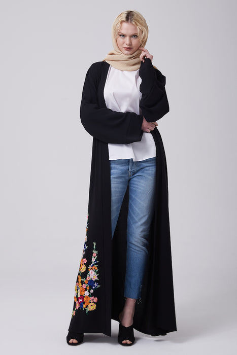 FERADJE black modest abaya with embroidery colourful patches at the bottom made from crepe full length view