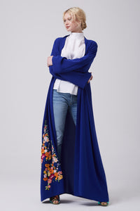 FERADJE royal blue Modest Abaya with embroidery colourful patches at the bottom made from crepe front view