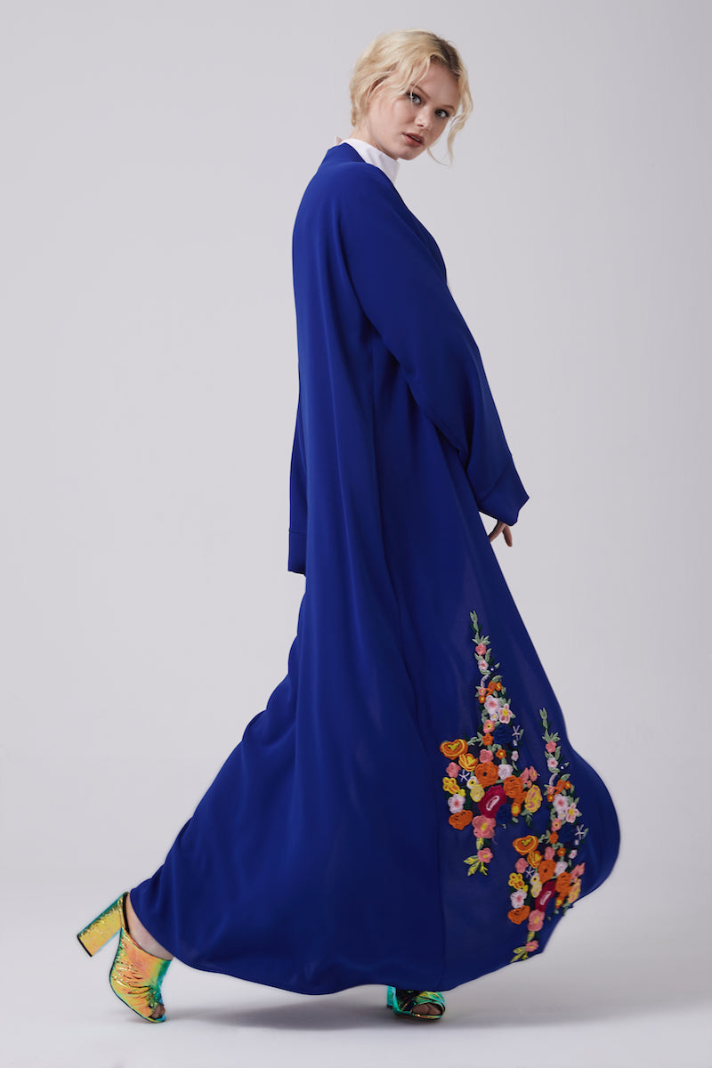 FERADJE royal blue Modest Abaya with embroidery colourful patches at the bottom made from crepe side view