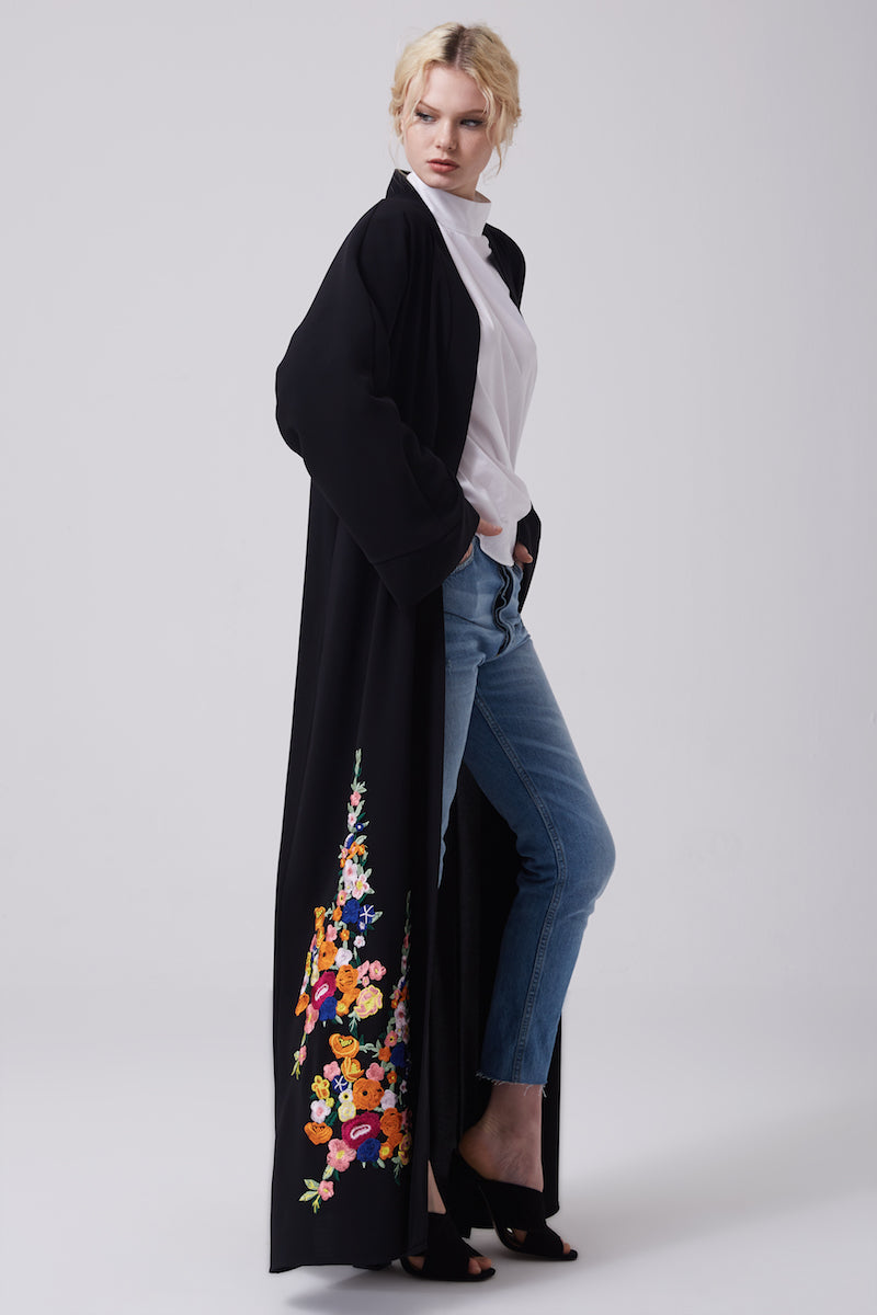 FERADJE black modest abaya with embroidery colourful patches at the bottom made from crepe side view