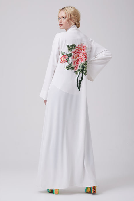 FERADJE white modest abaya with embroidery design inspired by chinese symbols made from crepe back view