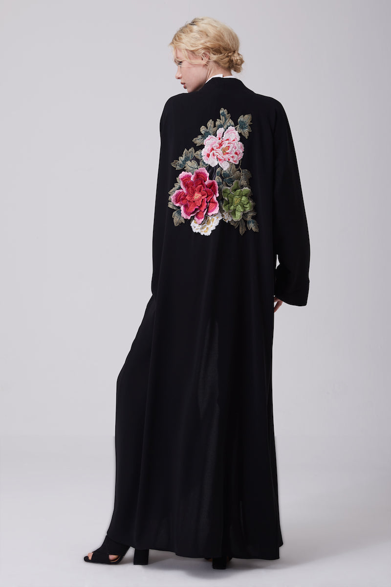 FERADJE modest black abaya or kimono with a flowery embroidery made from the finest crepe back view