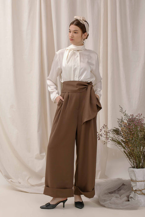 Le Bijou Finch Pallazo Pants in Taupe Modest Loose Fitting Wide Leg Women Trousers with Ribbon Sash and Pockets