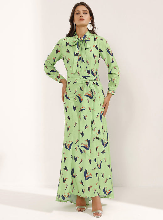 STORE WF Fitted Lime Green Maxi Dress Double Knotted Front Modest Long Dress With Blue Prints, Long Sleeves, Sash Collar and Belt