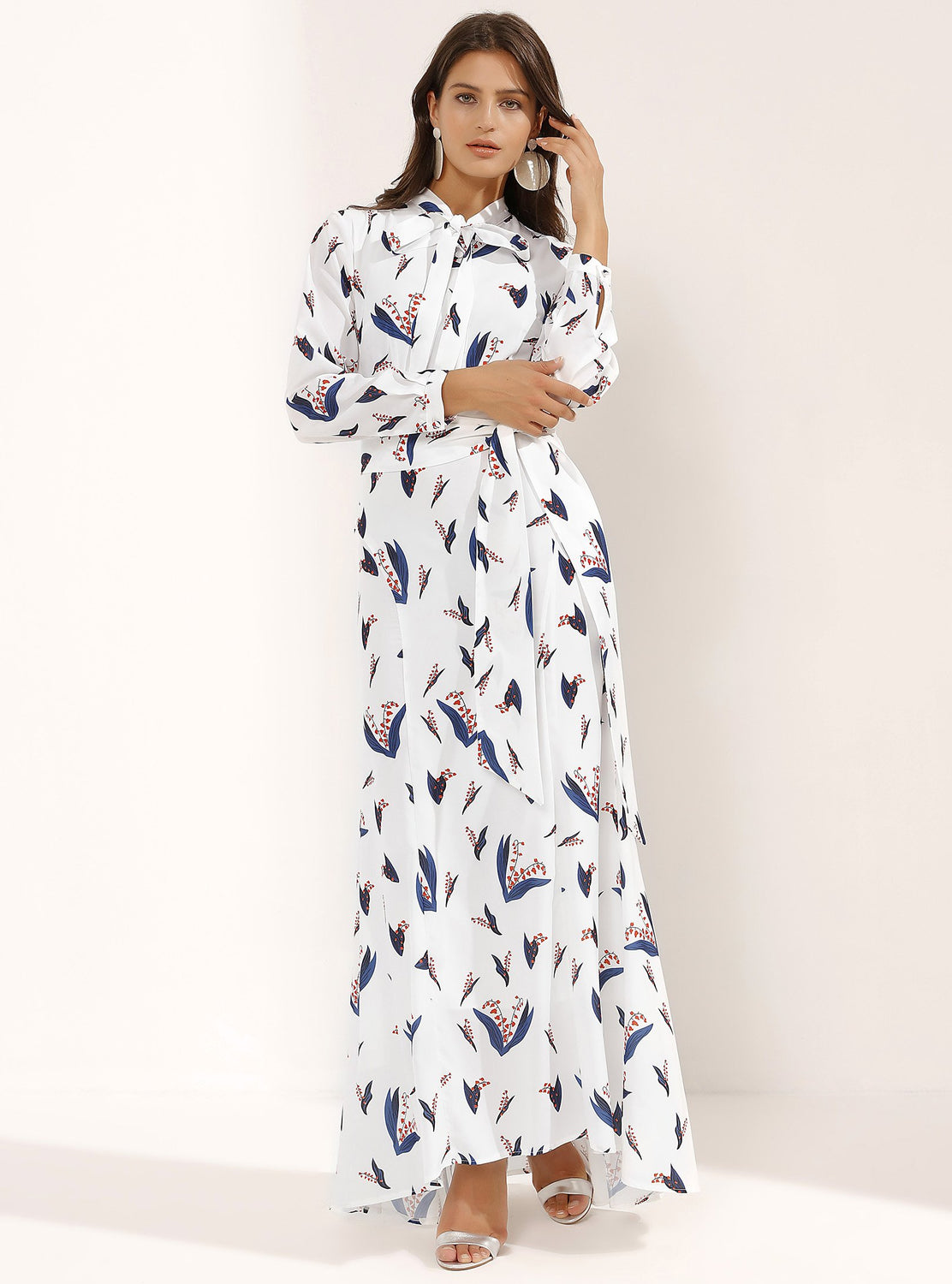 STORE WF Fitted White Maxi Dress Double Knotted Front Modest Long Dress With Blue Prints, Long Sleeves, Sash Collar and Belt
