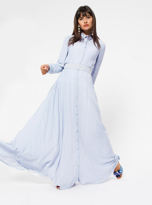 STORE WF Shirt Collar Maxi Dress With Pearl Modest Long Loose Fitted Dress with Sleeves, Front Buttons and Belt