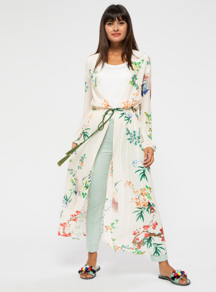 STORE WF Floral Kimono with Tassel Belt Modest White Floral Loose Fitted and Long Kimono with Tie and Open Front