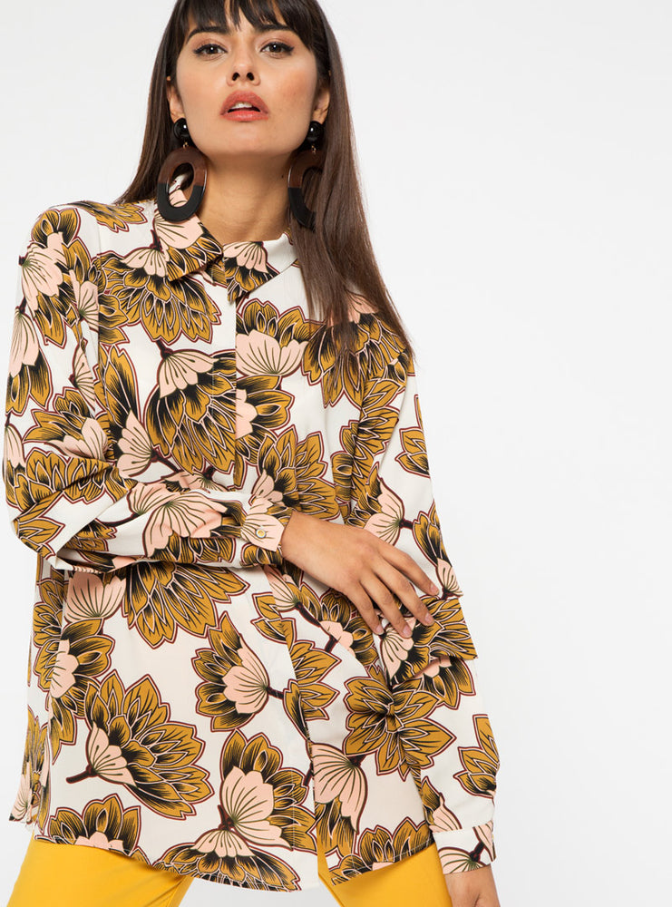 STORE WF Floral Tunic Shirt Modest Long Blouse Top with Floral Prints in Brown