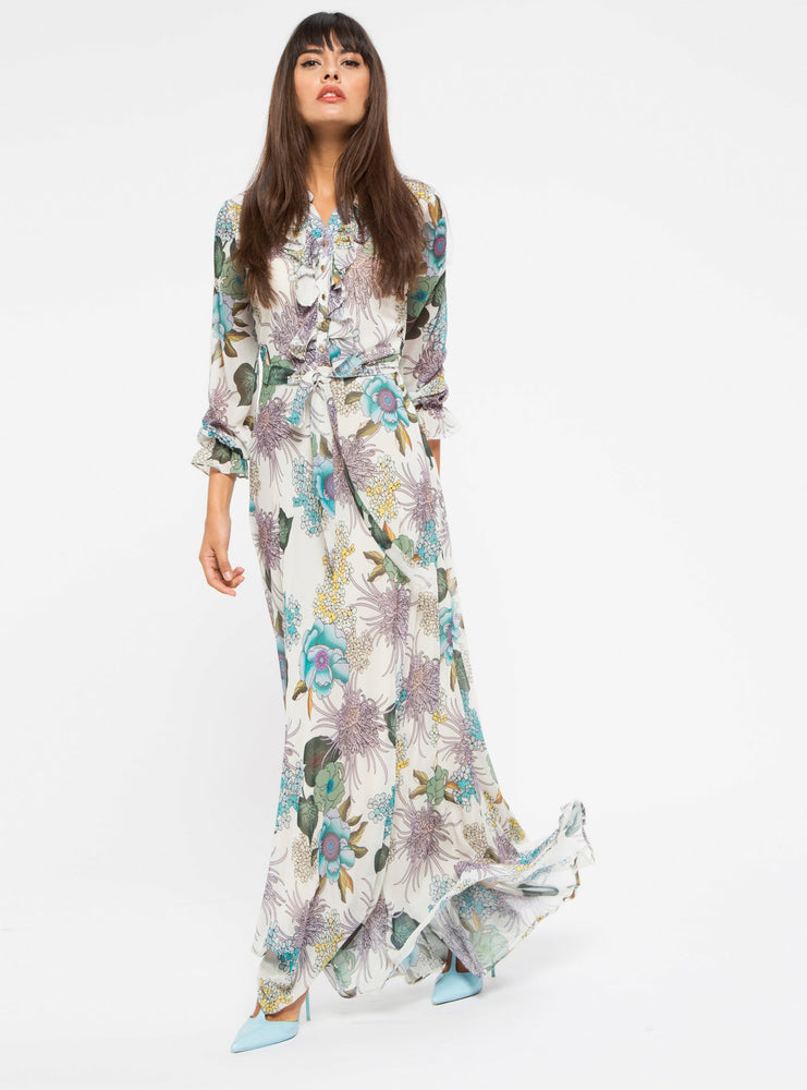 6d9238f5ee4 STORE WF Flower Maxi Dress Modest Long Loose Fitted Dress with Long Sleeves  and Floral Prints