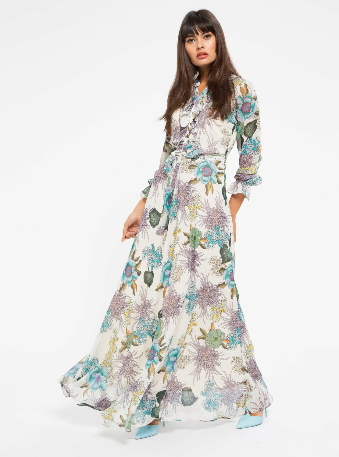 71b73026435 ... STORE WF Flower Maxi Dress Modest Long Loose Fitted Dress with Long  Sleeves and Floral Prints ...