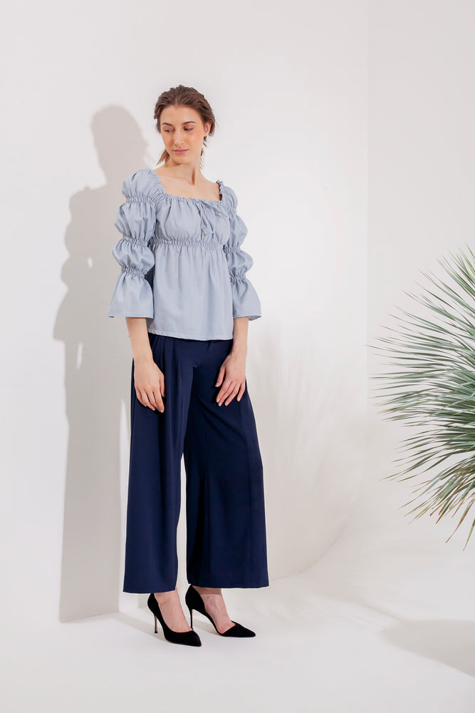 Domani Ginerva Top Modest Loose Fitting Women Top with Puff Ruffle Sleeves in Light Blue in Crepe Stretch