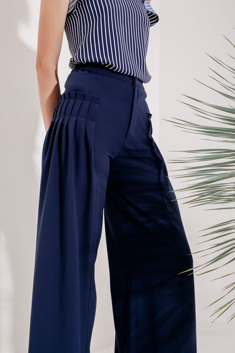 Domani Giula Pants Modest Loose Fitting Long Women Trousers with Side Pleats in Navy and Crepe Stretch