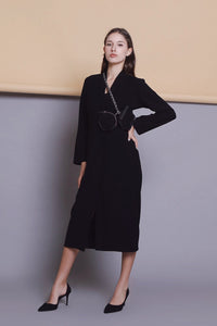 módni Jade Black Dress Modest Midi Dress with Long Sleeves, Front Pockets, Lapel Collar in Cashmere