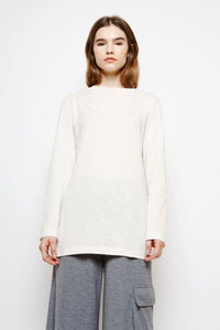 Muzca La Memoire Longsleeve T-Shirt Loose Fitted Beige Cream Top with Print on Chest and Sleeves in 100% Cotton