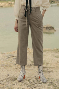 Belted Straight Pants in Brown