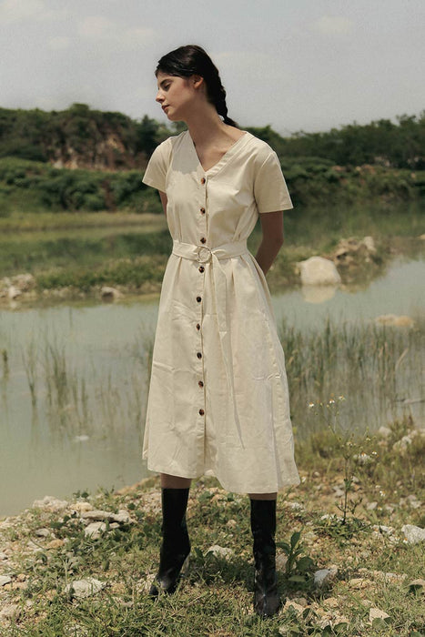 Roman Dress In Beige