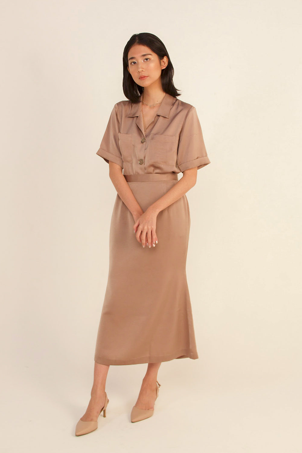módni Camella Silk Skirt Modest Midi Skirt With Back Zipper in Polyester and Silk