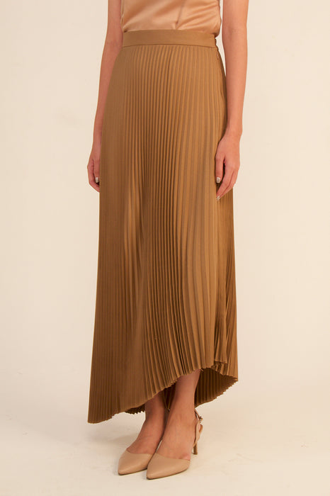 módni Sable Pleated Asymmetrical Skirt Modest Below-The-Knee Maxi Skirt With Elastic Waist Side Zipper