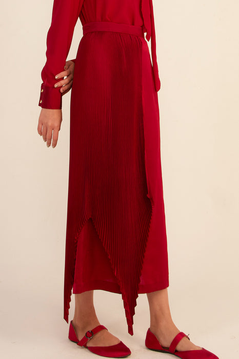 módni Ornata Half Pleated Silk Skirt Modest Midi Skirt With Asymmetrical Hemline, Side Zipper, in Polyester and Silk