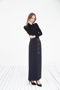 STORE WF Inverted Pleat Maxi Skirt Modest Long Navy Skirt with Cross Front String Detail