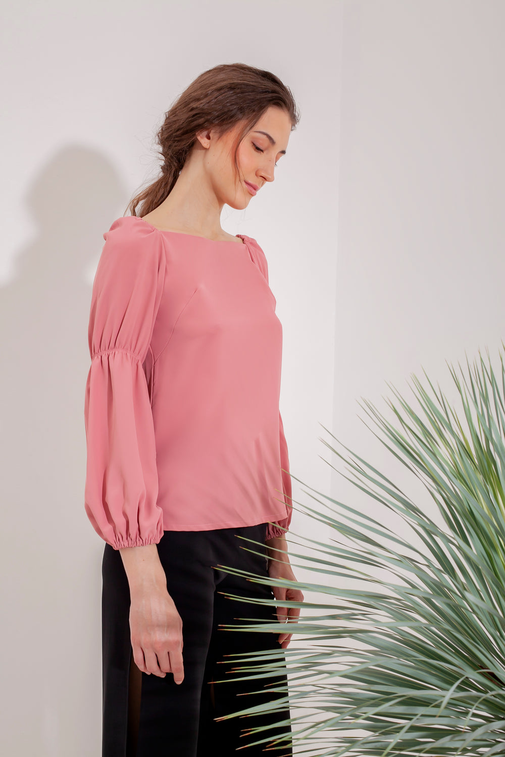 Domani Idalia Coral Top Modest Loose Women's Pink Top with Puff Long Sleeves in Crepe Stretch