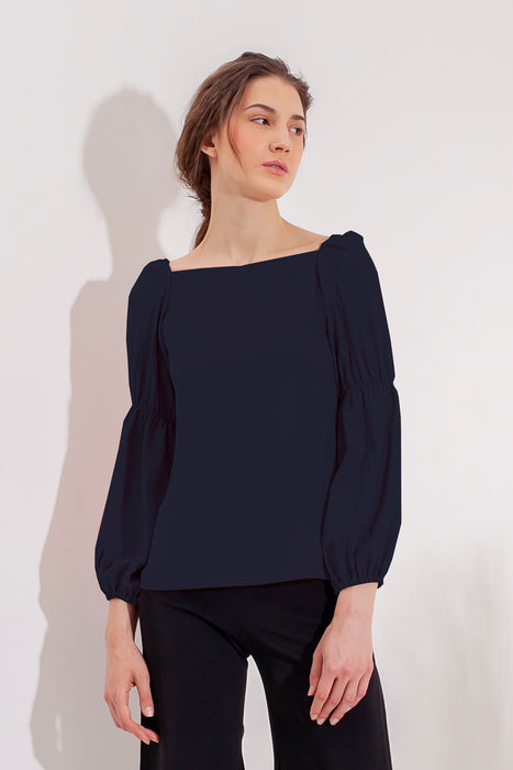 Domani Idalia Prussian Top Modest Loose Fitting Long Sleeve Navy Top for Women with Puff and Gathered Sleeves in Polyester and Cotton