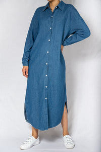 MODZ Denim Long Sleeves Loose Maxi Shirt Dress Modest Ankle-Length Collared Dress With Side Pockets