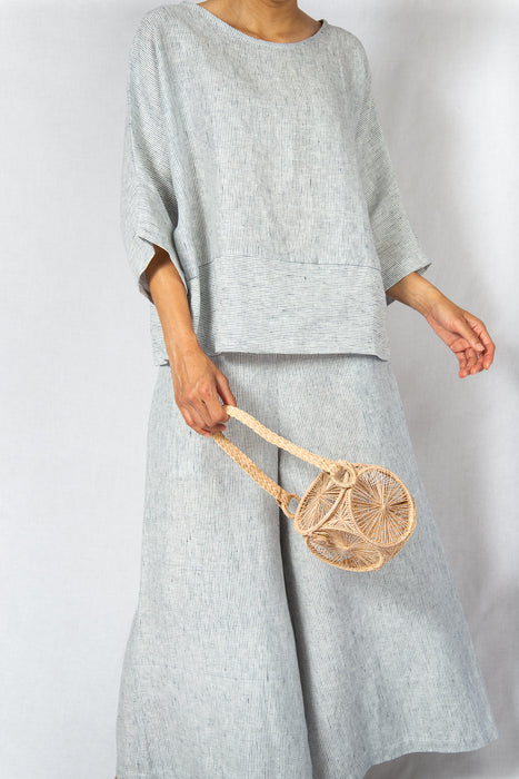 MODZ Linen Stripe Co-ord Loose Top and Pants Set Modest Oversized Top Long Sleeves and Wide Trousers White Navy