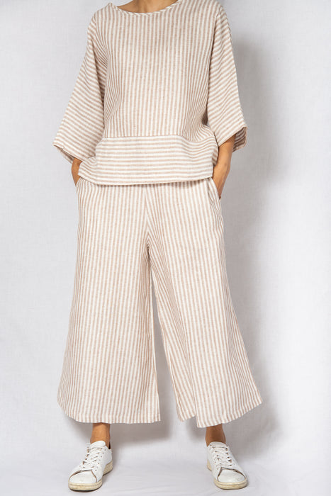 MODZ Linen Beige Stripe Co-ord Loose Top and Pants Set Modest Oversized Shirt Wide Long Sleeves and Ankle-Length Trousers