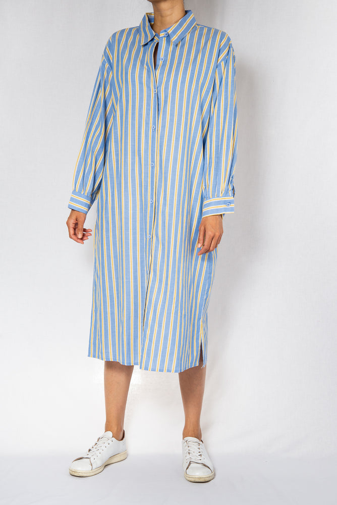 MODZ Blue Stripe Midi Shirt Dress with Sash Modest Collared Below The Knee Dress With Long Sleeves Front Buttons in 100% Cotton