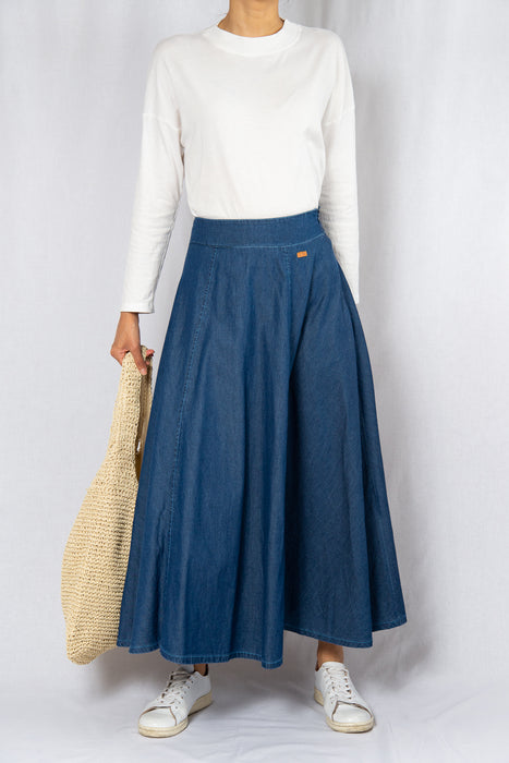 MODZ Denim Loose Maxi Skirt Modest Ankle-Length Flowy Long Skirt