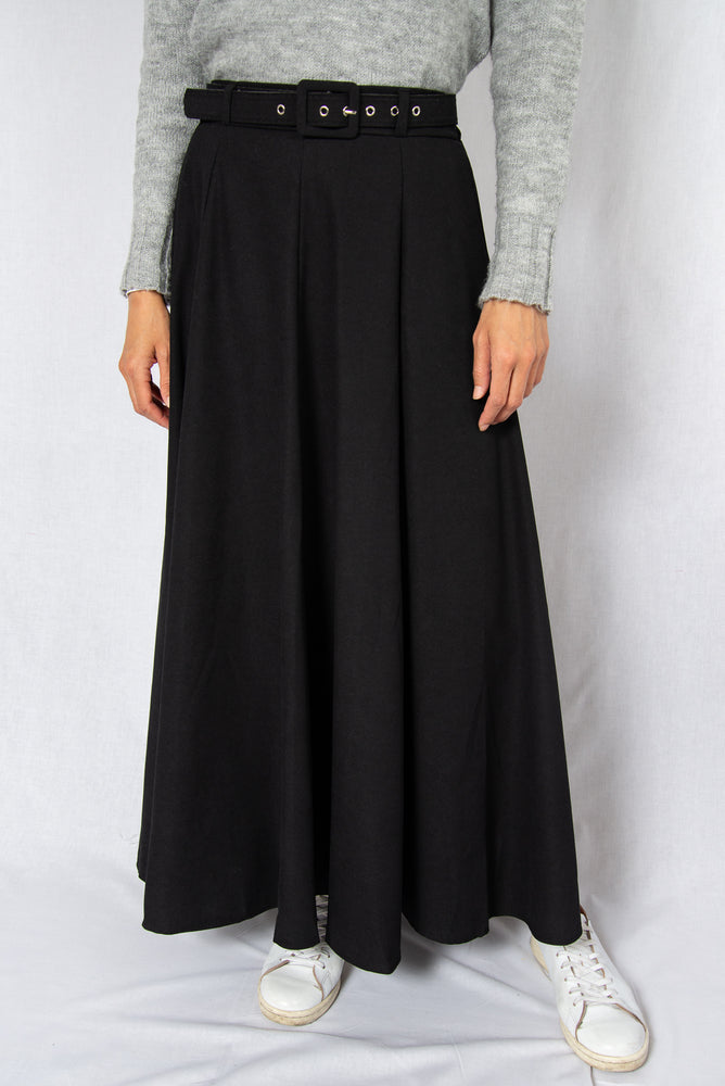 MODZ Black Loose Maxi Skirt with Belt Modest Ankle-Length Flowy Skirt in 100% Cotton