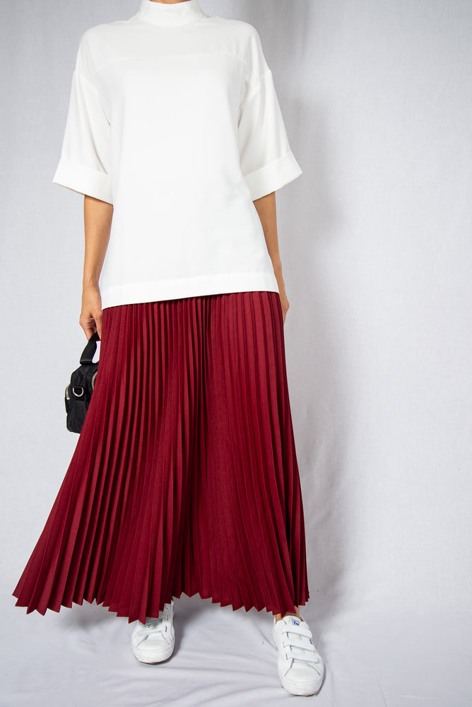 MODZ Red Loose Pleated Maxi Skirt Modest Ankle-Length Long Skirt With Flowy Pleats Elastic Waistband in Polyester