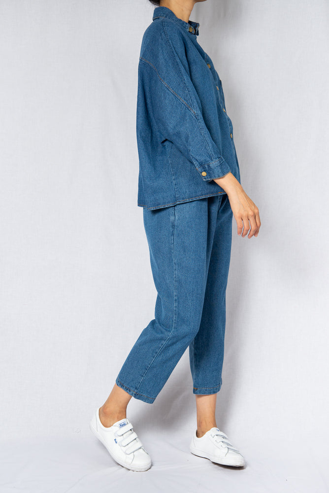 MODZ Denim Co-ord Long Sleeve Top and Pants Set Modest Loose Collared Top and Ankle-Length Trousers